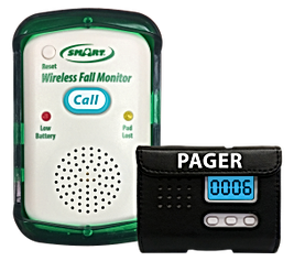 Picture of wireless fall monitor and pager together