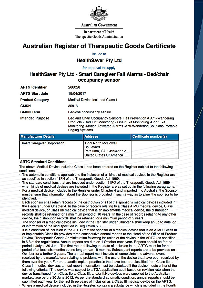 Smart Caregiver Alarms are registered with the Therapeutic Goods Administration in Australia