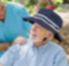 HedSaver Sun Hat on man with carer