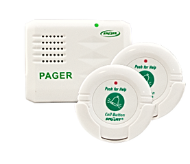 Pager with two wireless nurse call buttons