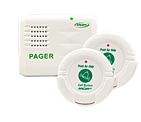 Two call buttons and pager.The TL-5102TP is a Stand Alone Personal Paging System and includes two Call Buttons and one Caregiver Pager.  When pressed, the Nurse Call Buttons send a wireless signal to the pager, alerting the caregiver that assistance is required. This simple, streamlined system allows you to eliminate in-room alarm noise and with a range of up to 100m, caregivers have the freedom they need. Easy Push-Button Operation