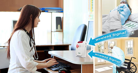 fall monitor in use, showing the wireless signel from the chair and bed pads being received by nursing staff