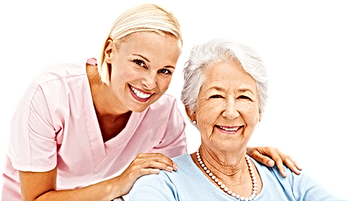 Happy smiling older person with nurse