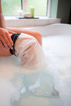 LimbO waterproof leg protector on use in the bath