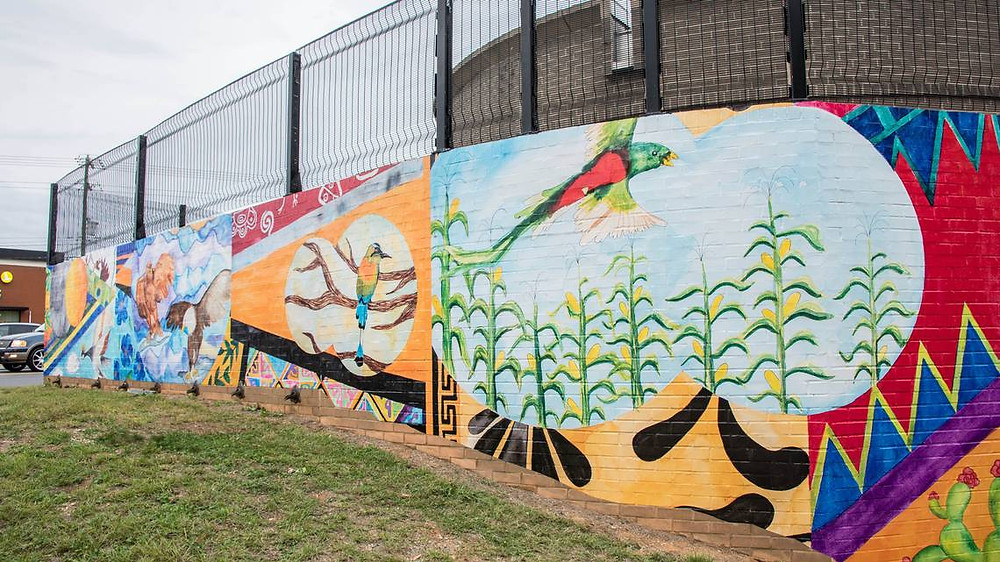 The newly unveiled Tapestry art mural on Monroe and Idlewood roads welcomes visitors to the East Charlotte neighborhood of MoRA. LEIGH BLACK