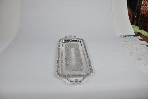 Gümüş Kaplama Dikdörtgen Motifli Tutacaklı Tepsi 51x20
