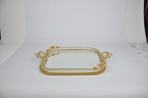 Murano Gold Çiçekli Aynalı Tepsi 47x28
