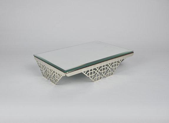 Kare, Ayaklı, Aynalı Gümüş Jardinyer 40x8