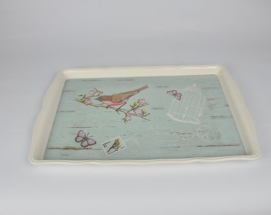 Motifli Kuşlu Dikdörtgen Tepsi 44cm