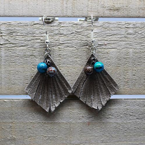 """Genuine Leather Earrings """"Grey fringe with grey and blue beads"""""""