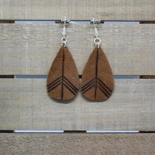 "Genuine Leather Earrings ""Teardrop Lines"""