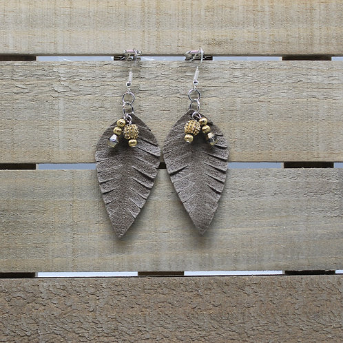 """Genuine Leather Earrings """"Grey Leaf With Gold Beads"""""""