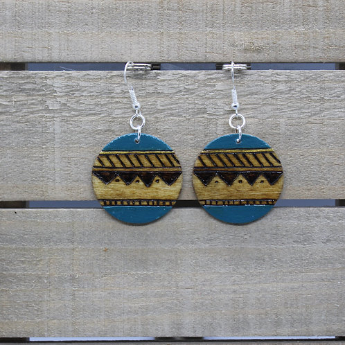 Wood Burned Earrings -Shea