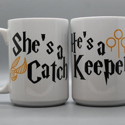 She's A Catch & He's A Keeper - Mug Set