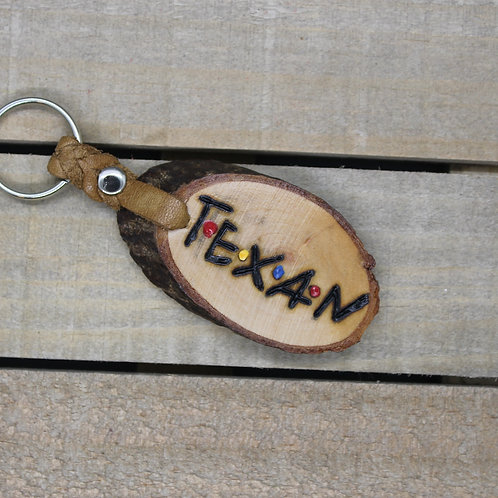 WOOD & LEATHER KEYCHAIN -TEXAN