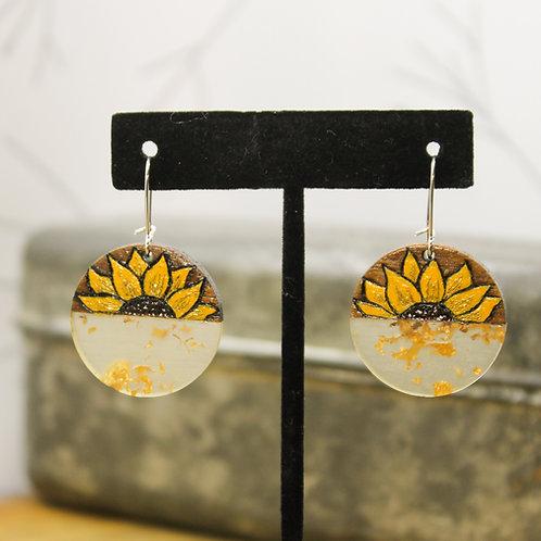 Wood & Resin - Sunflower Earrings