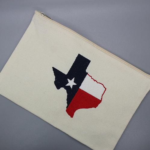 TX FLAG TEXAS- SMALL ZIPPER BAG
