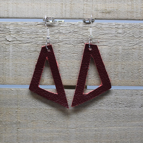 """Genuine Leather Earrings """"Red Triangles"""""""