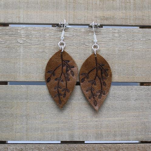 "Genuine Leather Earrings ""Burned Leaf"""