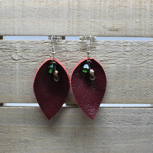 "Genuine Leather Earrings ""Red Leaf with jeweled beads"""