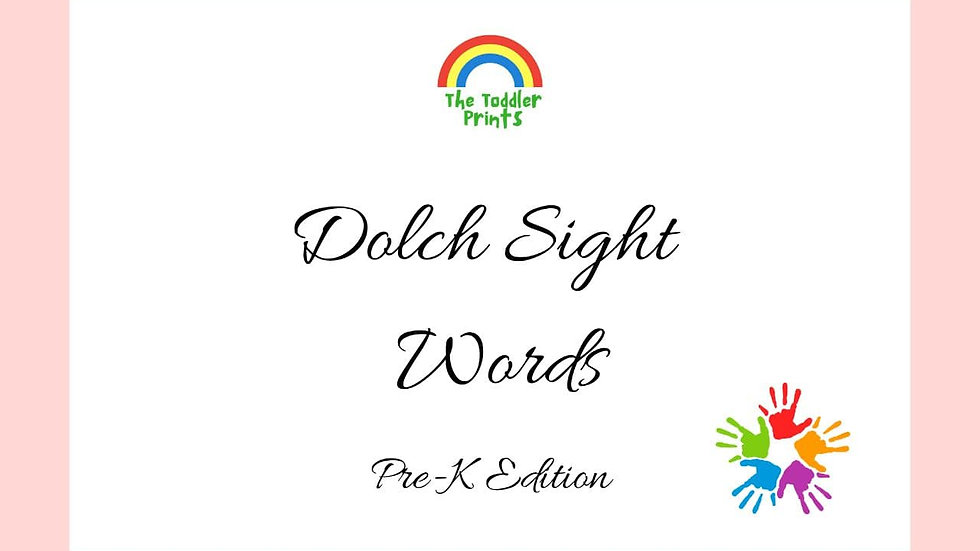 Dolch Pre-K Sight Words