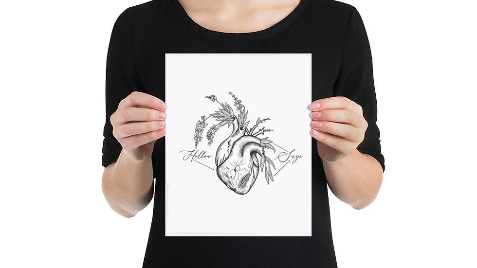 Black Heart on White Poster