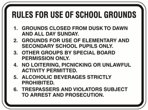 Rules in school ground - 2