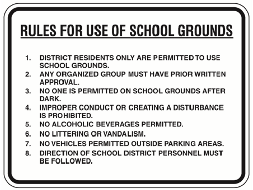 Rules in school ground