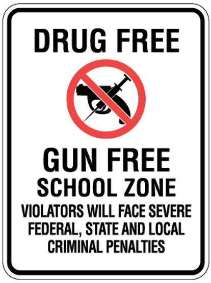 Drug free, Gun free school zone