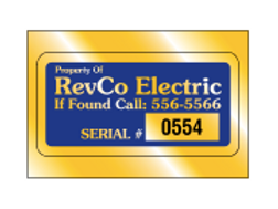 "2.75"" x 1.375"" Rect ID Decal - Gold Polyester"