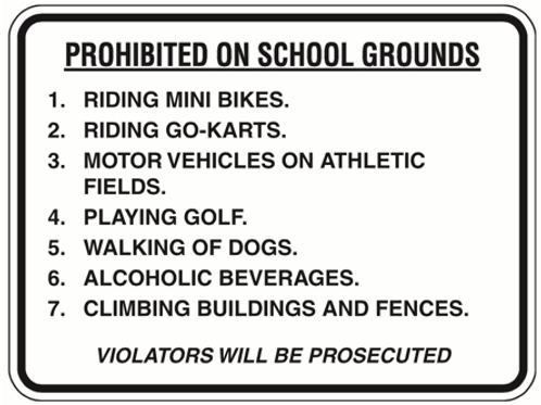 Prohibited on School ground