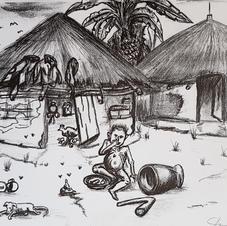 'Before' sketch of village.