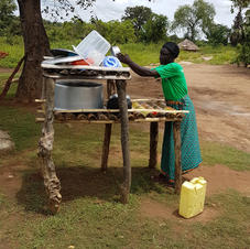 Sanitation and hygiene - drying dishes.