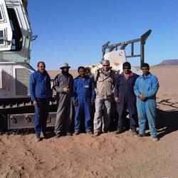 Steve with mine clearance team and vehicle - Western Sahara
