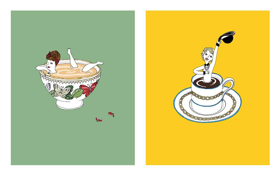 English tea set dolls Giclee prints   mio.matsumoto