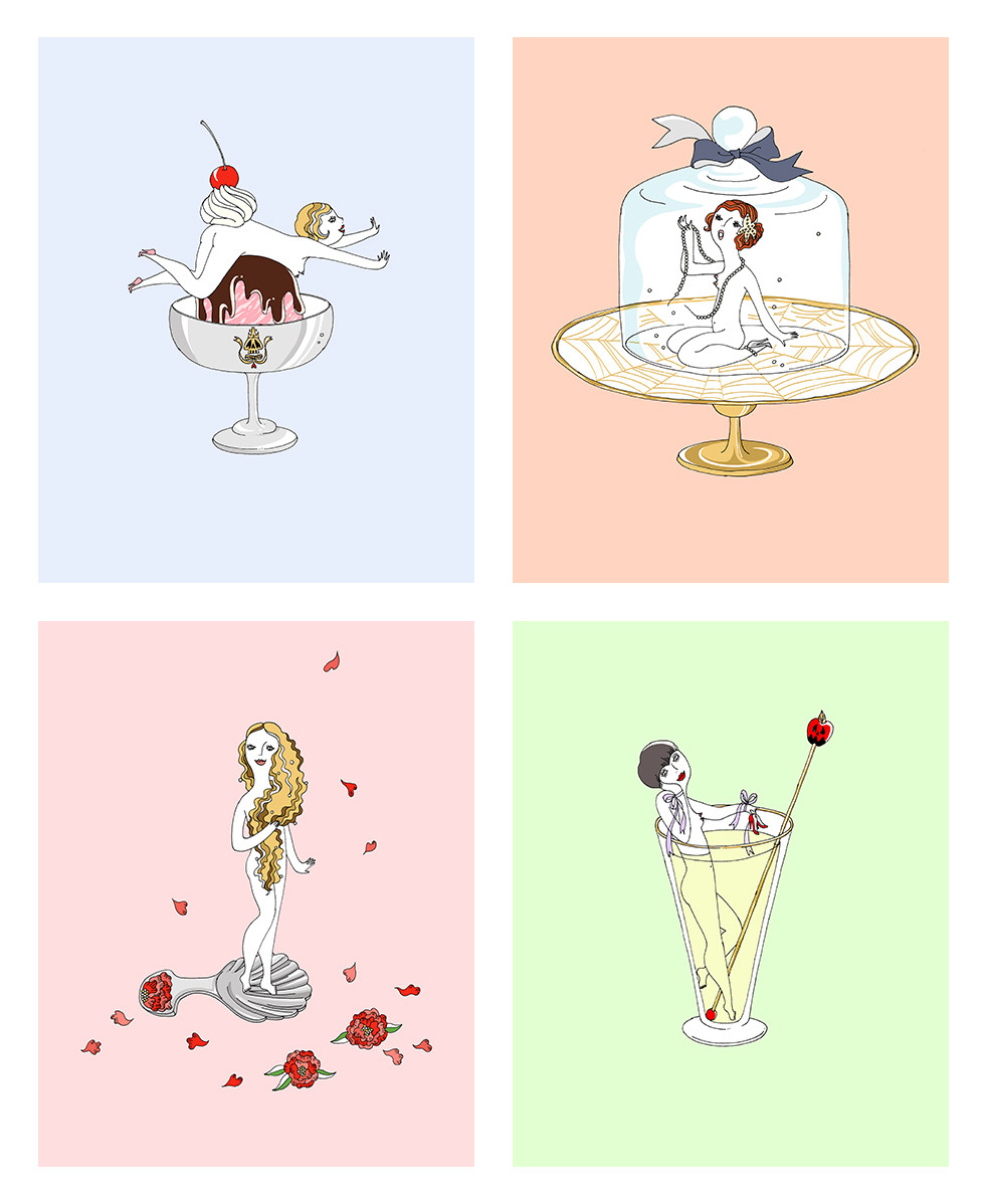 English tea set dolls Giclee prints | mio.matsumoto