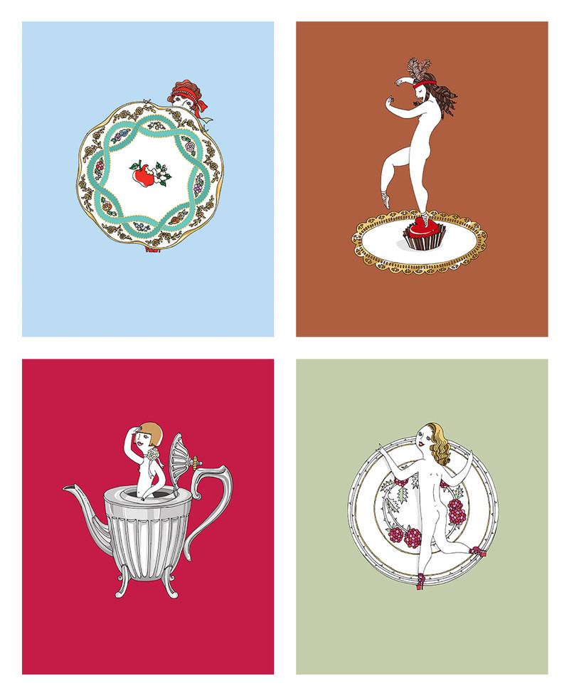 English tea set dolls Giclee prints | mio.matsumoto