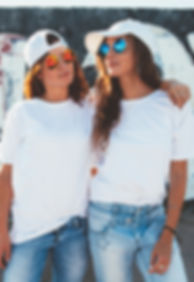 Two models wearing plain white t-shirts