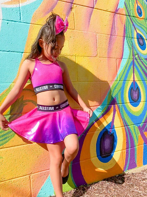 Ombre Flowy Skirt Sporys Bra Set