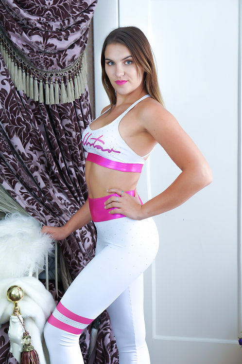 White & Pink Couture Leggings & Top