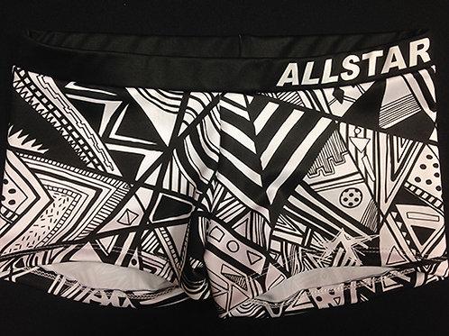 Practice Wear Shorts Black & White Pattern