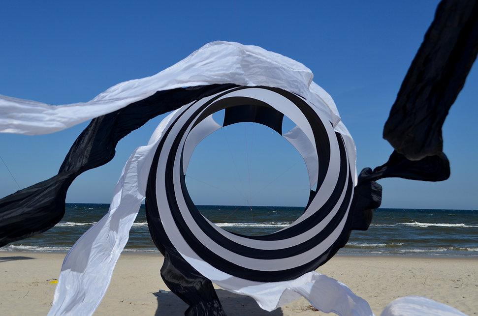 biało-czarny latawiec - rotor, w tle plaża