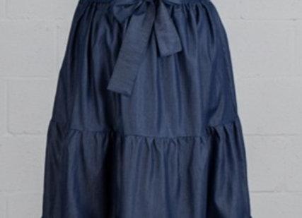 Denim Peasant Maxi Skirt