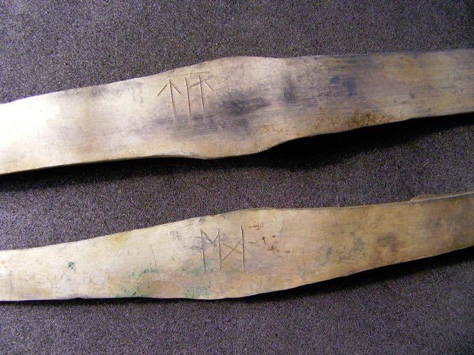 2nd close-up of runic inscriptions - two arm-rings