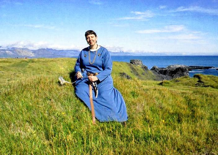 Lynn Noel as the Vinland Viking Gudrid the Wanderer at Gudrid's birthplace of Arnarstapi, Iceland. (Courtesy photograph) Courtesy photograph