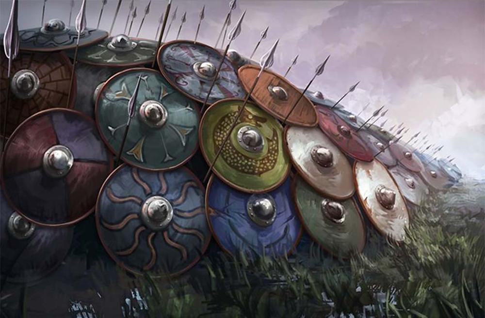 Os vikings não usavam a parede de escudos (shield wall), será?