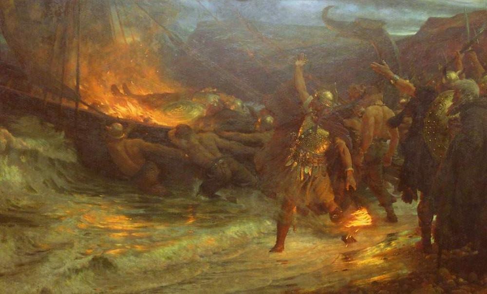 O funeral de um viking - Frank Dicksee