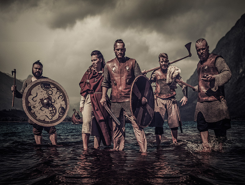 Viking Riders in Ocean