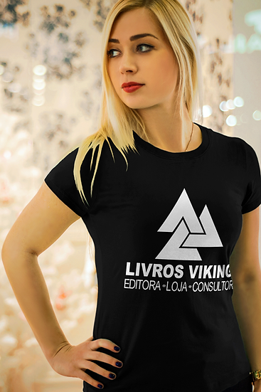 Camiseta Feminina (baby long) Livros Vikings 2.0 - Preta