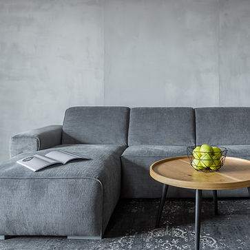 Grey couch in living room